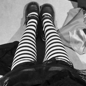 Other - Black and White Striped Stockings